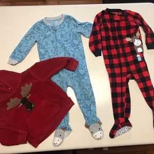 Size 2 Pajama Onesies and Fleece Hoodie